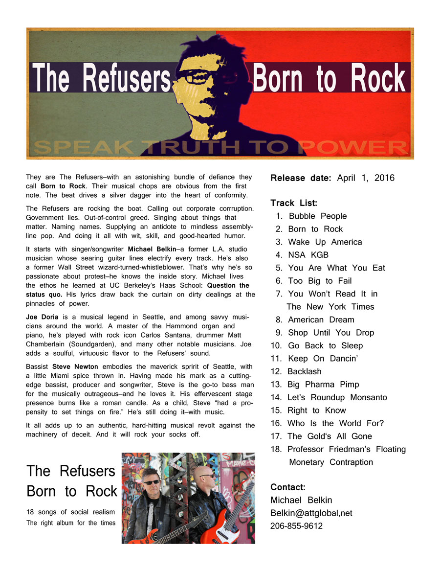 A one-pager promoting the latest album from The Refusers